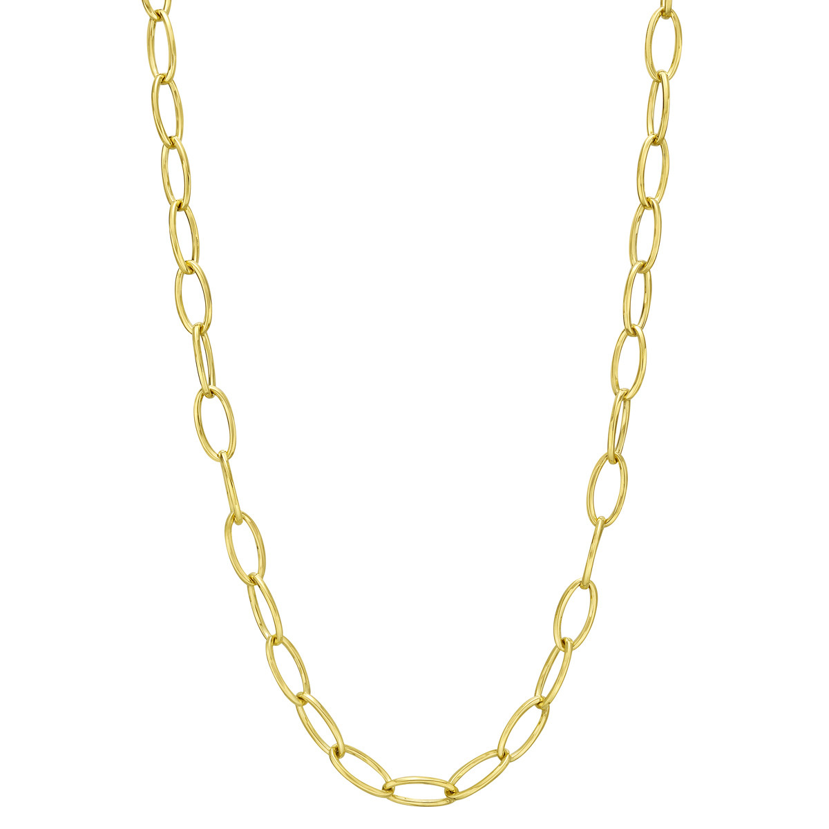 18k Yellow Gold Marquise Link Long Necklace