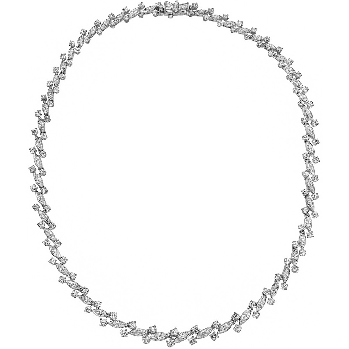 Marquise & Round-Cut Diamond Necklace (~14 ct tw)