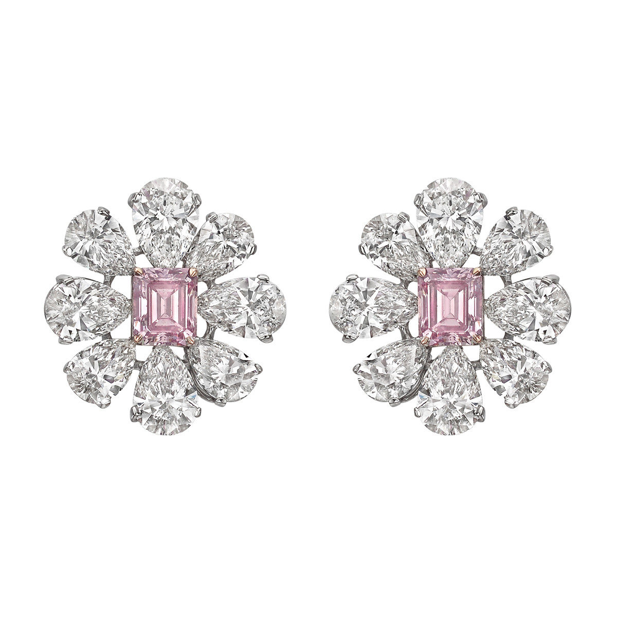 Diamond Flower Cer Earrings Showcasing An Emerald Cut Fancy Intense Pink Surrounded By Eight Colorless Pear Shaped Diamonds