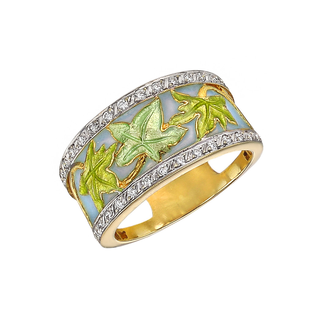Vine Leaf Enamel & Diamond Wide Band
