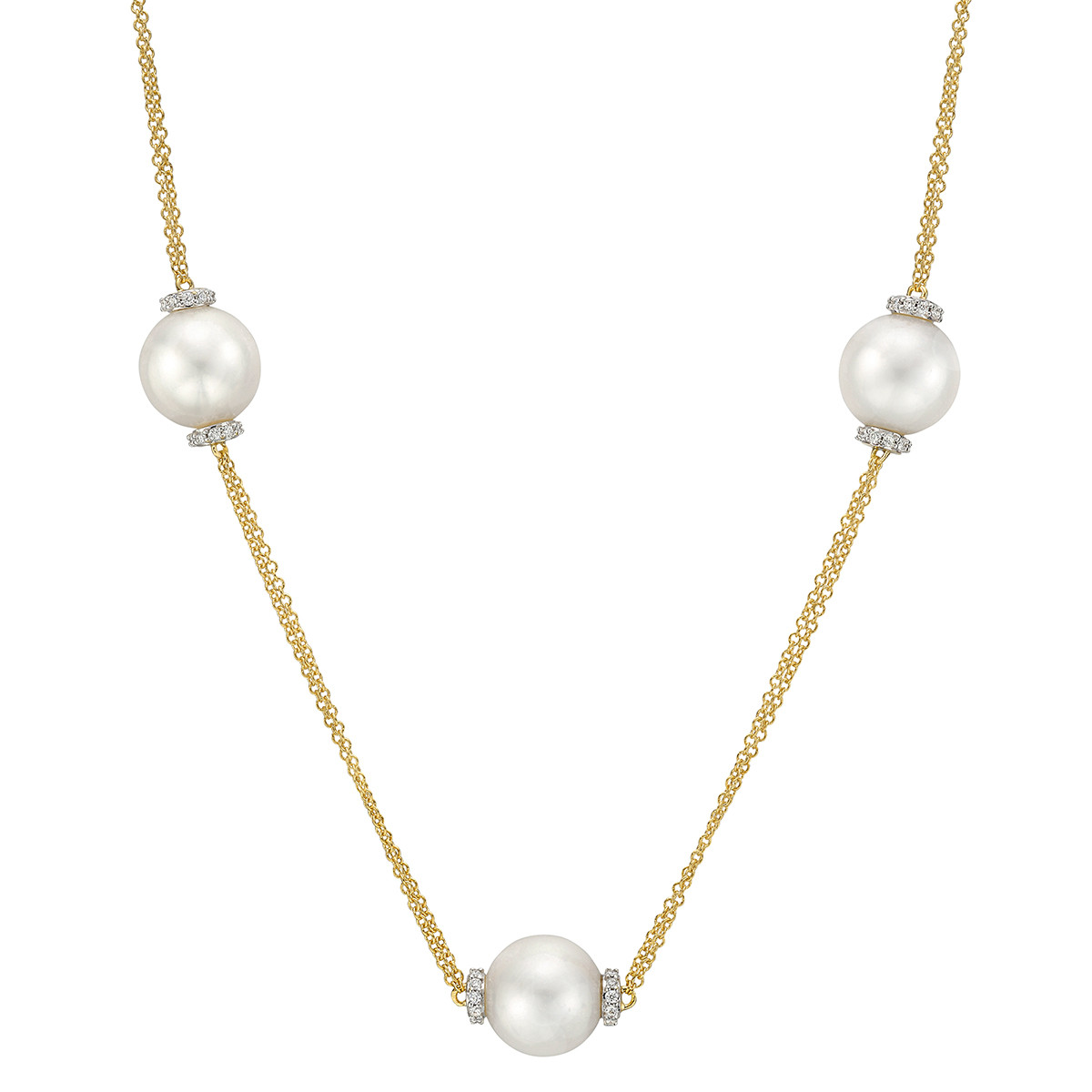 Three Pearl & Diamond Chain Necklace