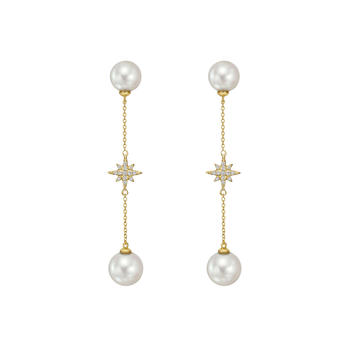 "Pearl & Diamond ""Stella"" Drop Earrings"