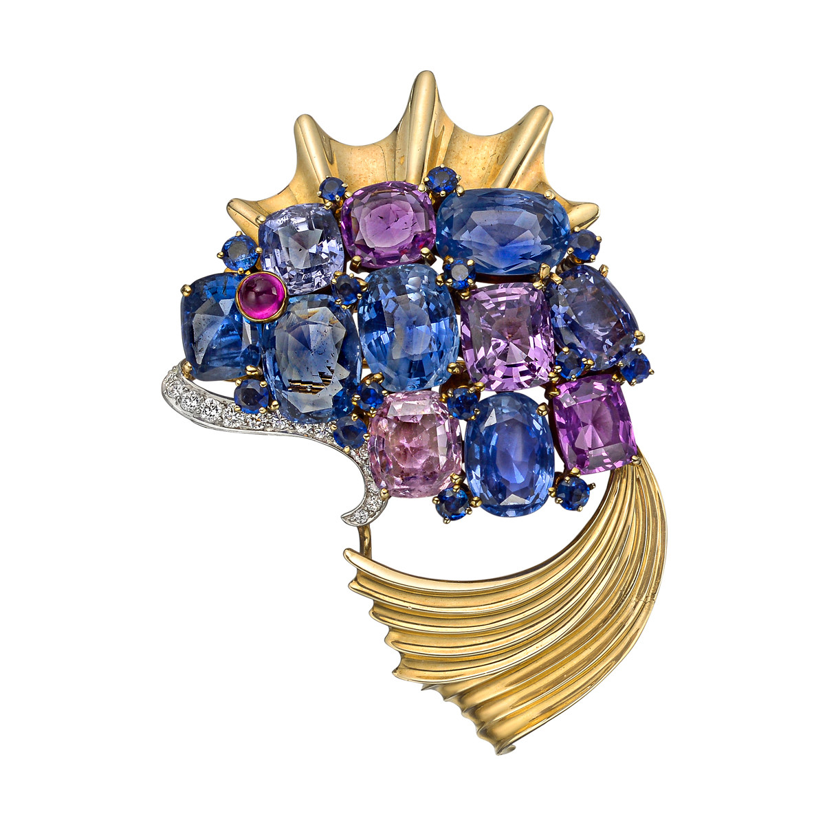 1939 World's Fair Multicolored Sapphire Fish Brooch