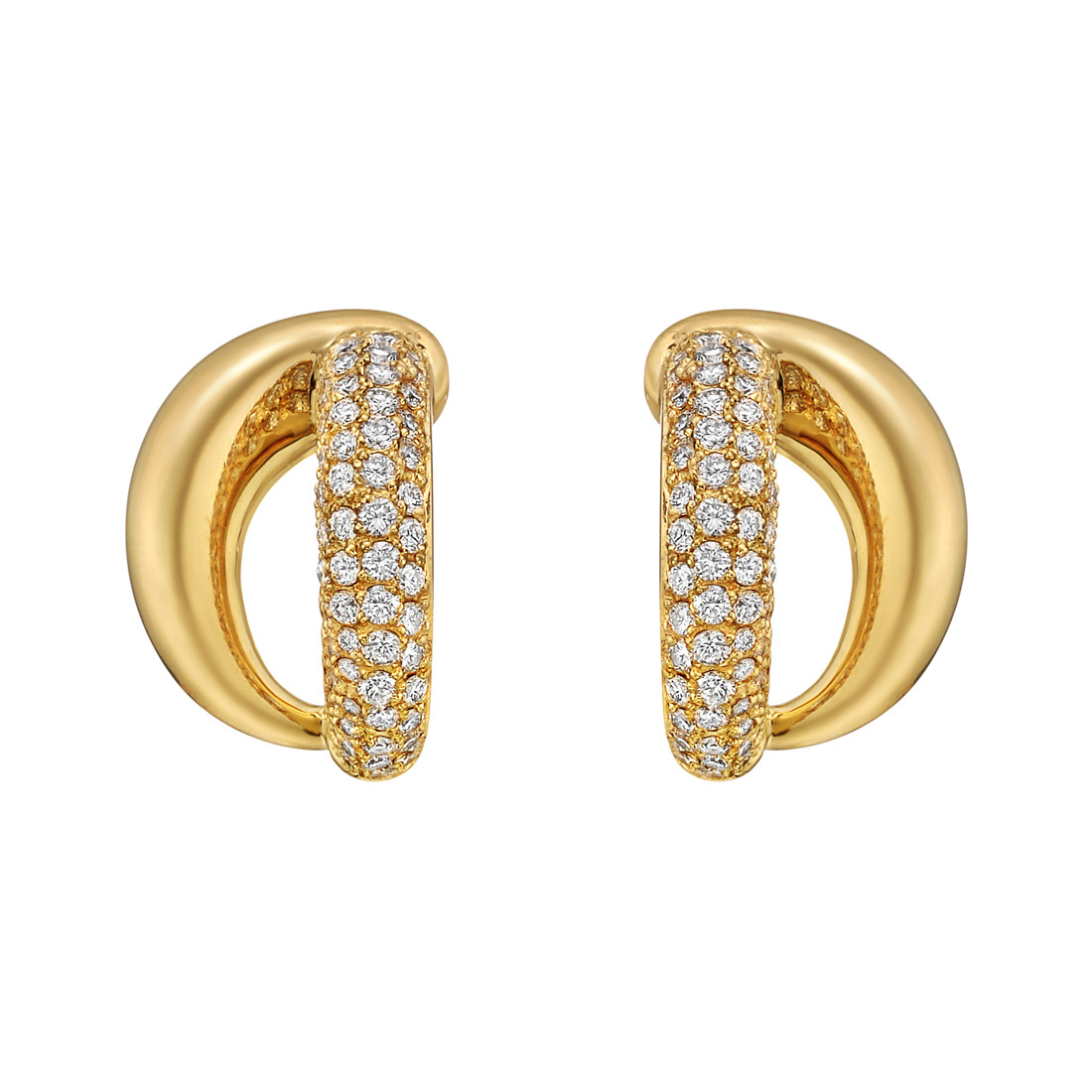 18k Yellow Gold & Diamond Double Split Earrings