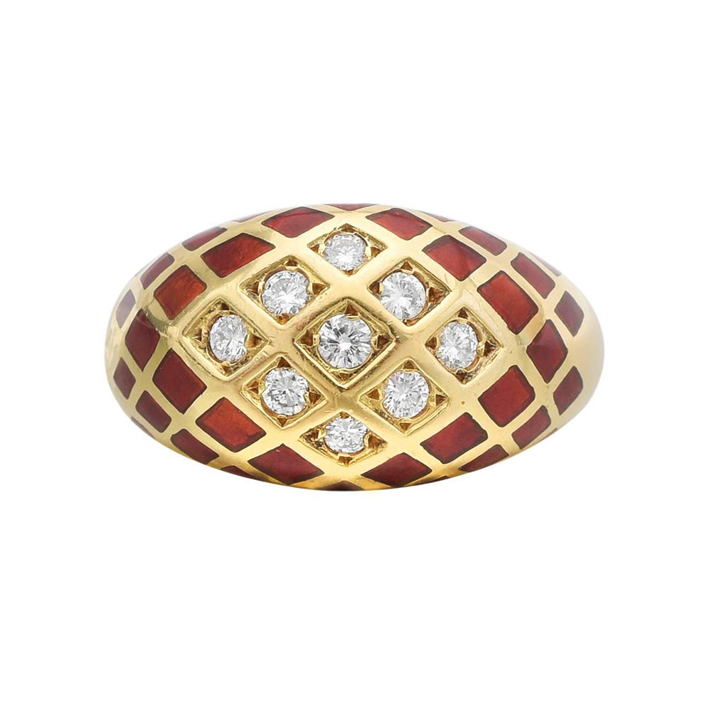 Red Enamel & Diamond Dome Ring