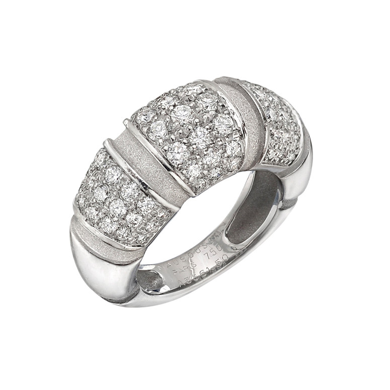 18k White Gold & Diamond Band Ring