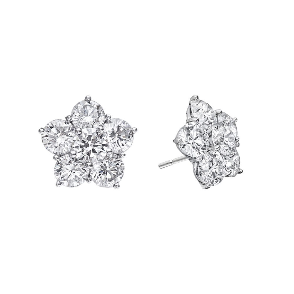 Medium Diamond Flower Cluster Earstuds (2.83 ct tw)