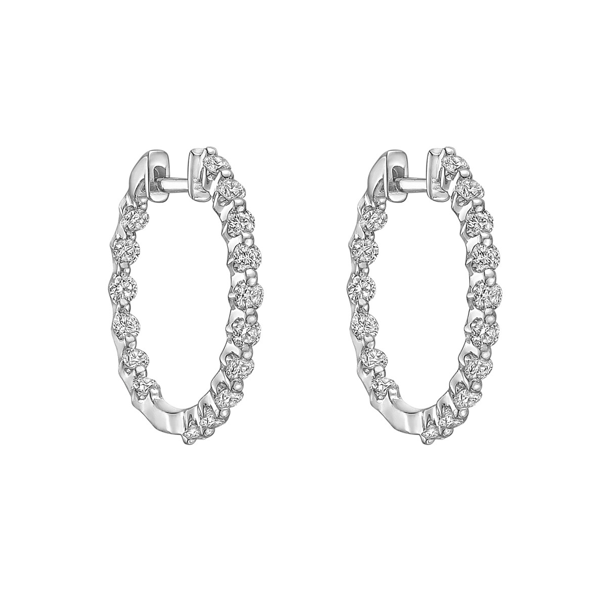 Medium Diamond Hoop Earrings (~1 ct tw)