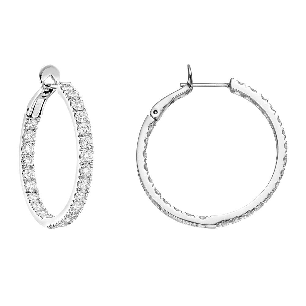 Medium Diamond Hoop Earrings (~3.25 ct tw)