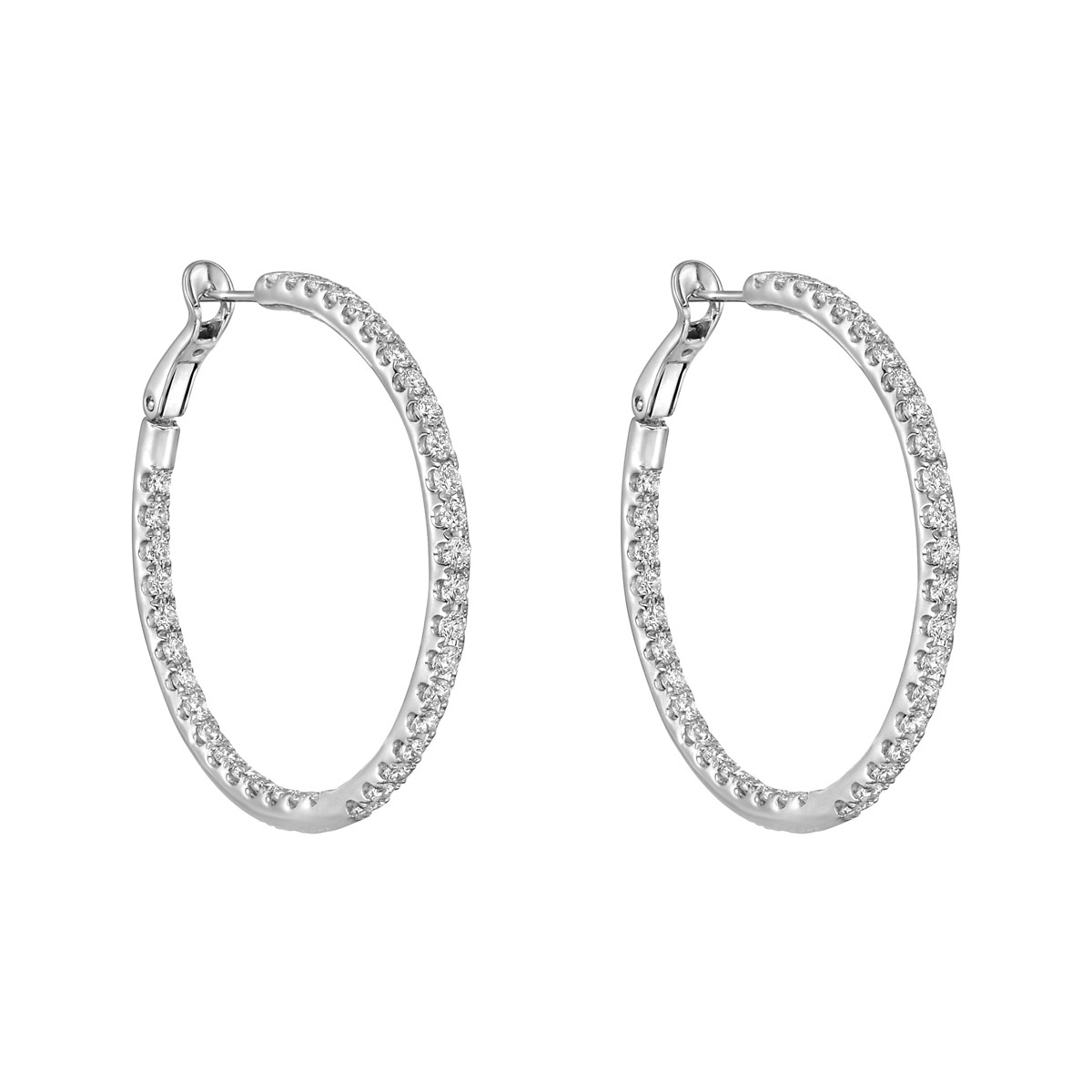 Medium Diamond Hoop Earrings (~3 ct tw)