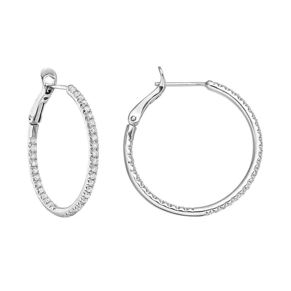 Medium Diamond Hoop Earrings (~0.5 ct tw)