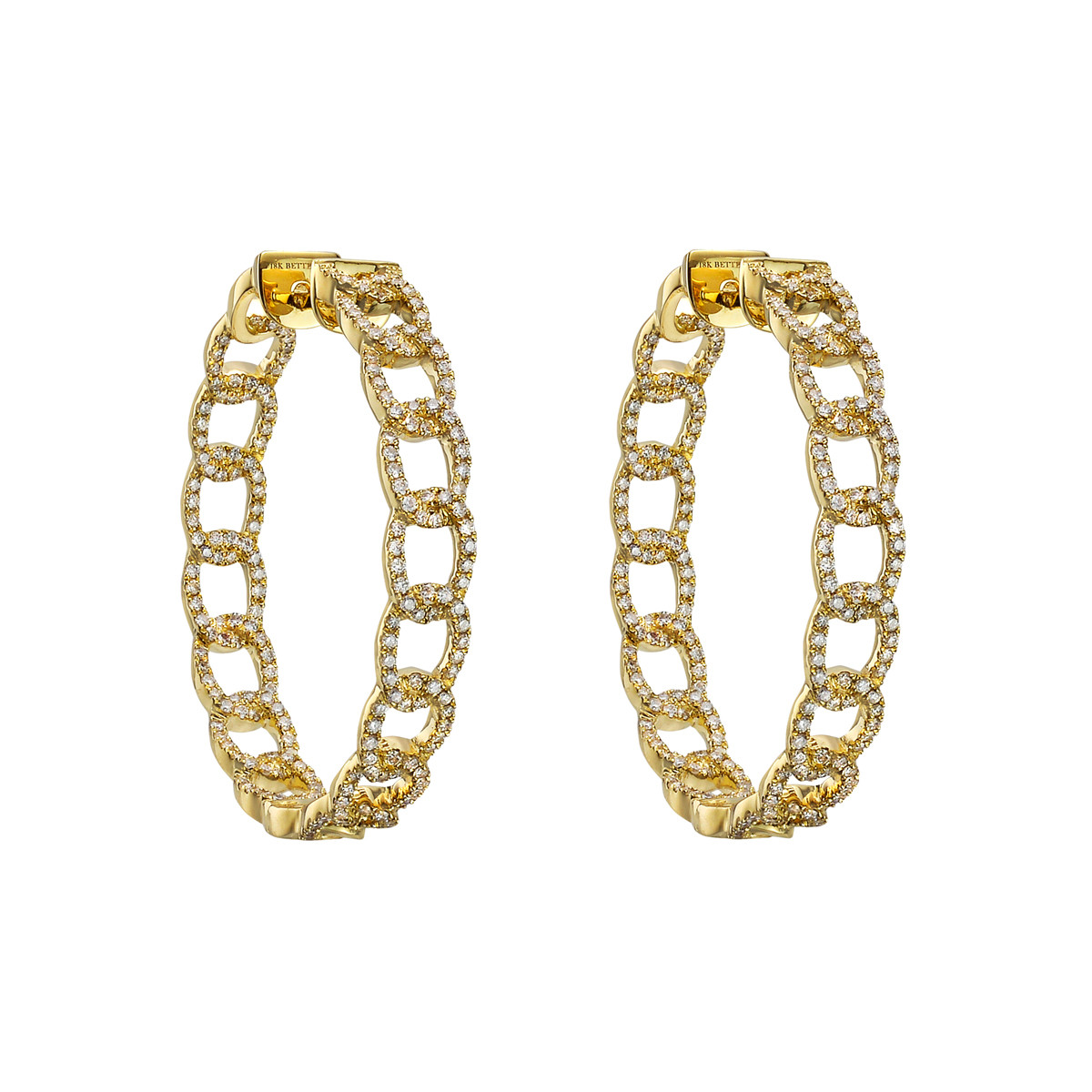 Medium 18k Yellow Gold & Diamond Curb Link Hoop Earrings
