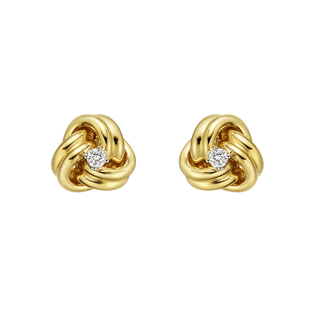 Medium 18k Yellow Gold & Diamond Knot Earstuds