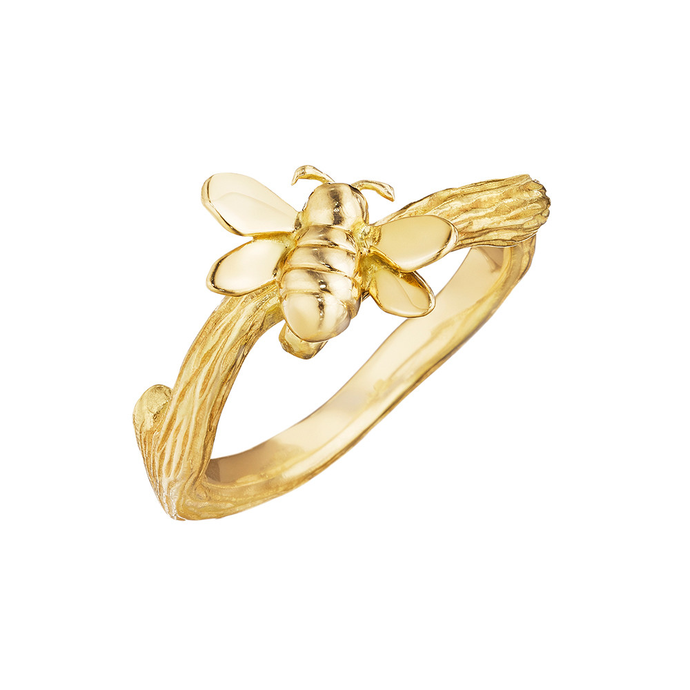 18k Yellow Gold Bumble Bee Band Ring