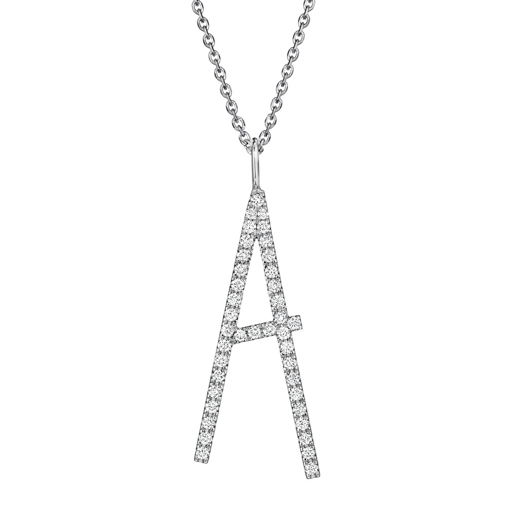18k White Gold & Diamond Type Letter 'A' Pendant