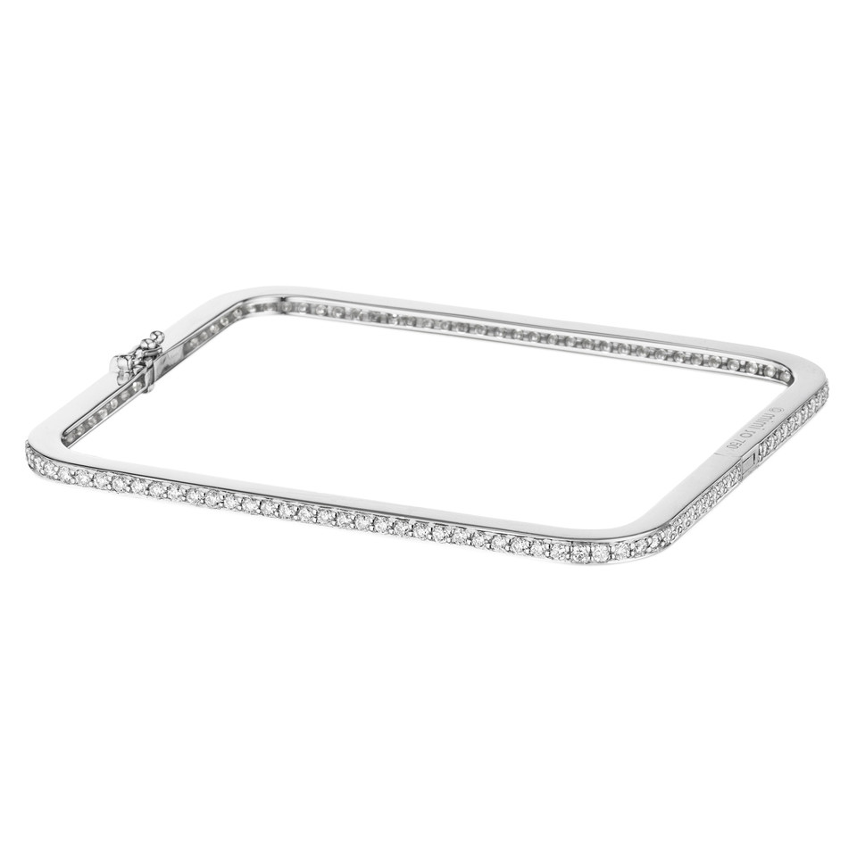 "18k White Gold & Diamond ""Piece"" Bangle Bracelet"