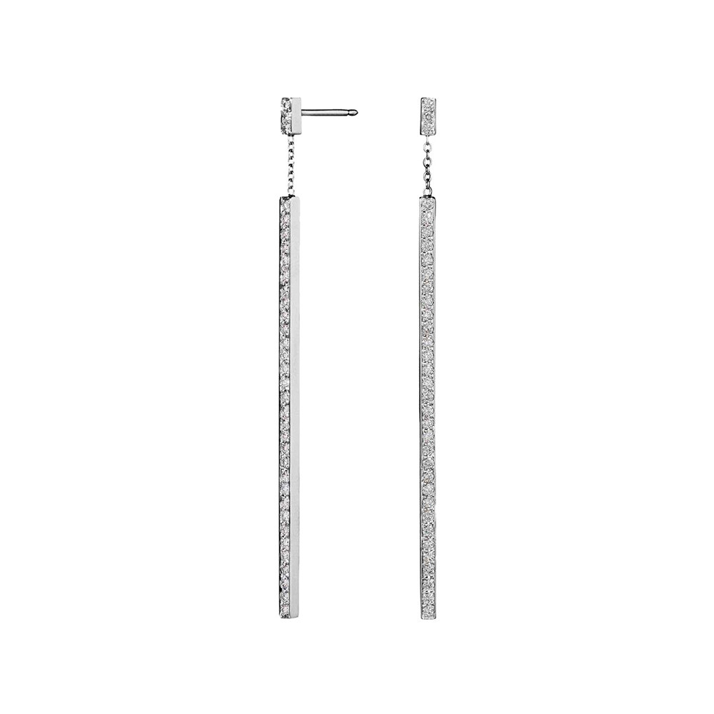 "18k White Gold & Diamond ""Stick"" Earrings"