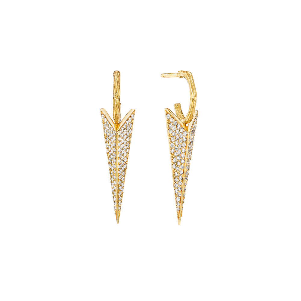 Medium Diamond Bee Stinger Drop Earrings