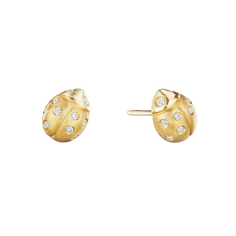 Medium 18k Yellow Gold & Diamond Ladybug Earrings