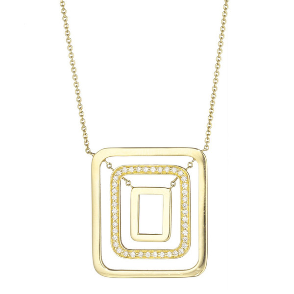 "Medium 18k Yellow Gold & Diamond ""Piece"" Pendant Necklace"