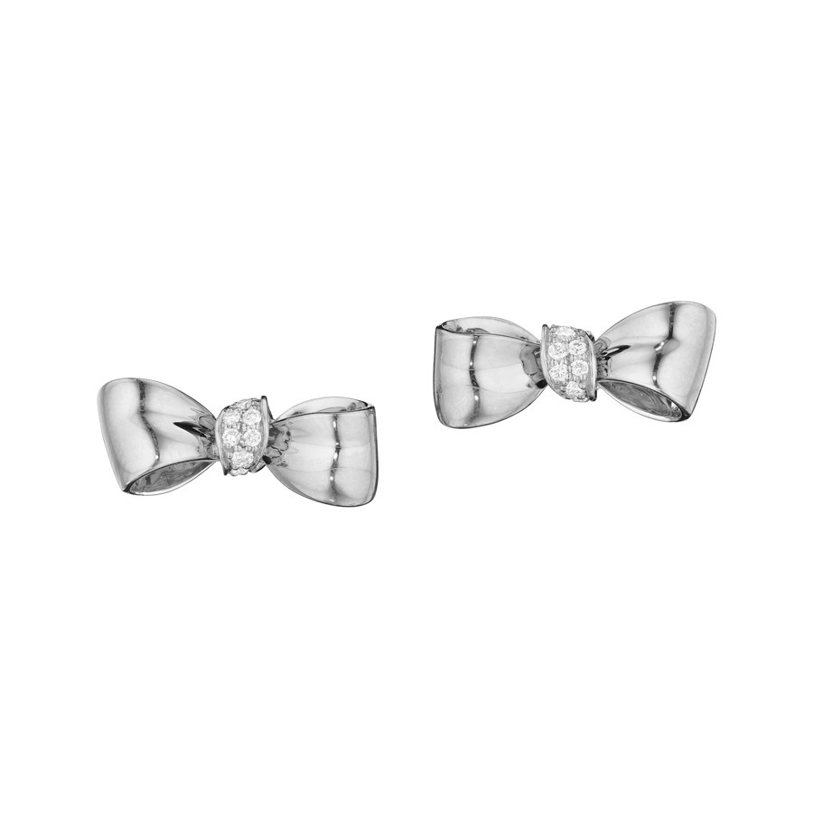 Mini 18k White Gold & Diamond Bow Earstuds