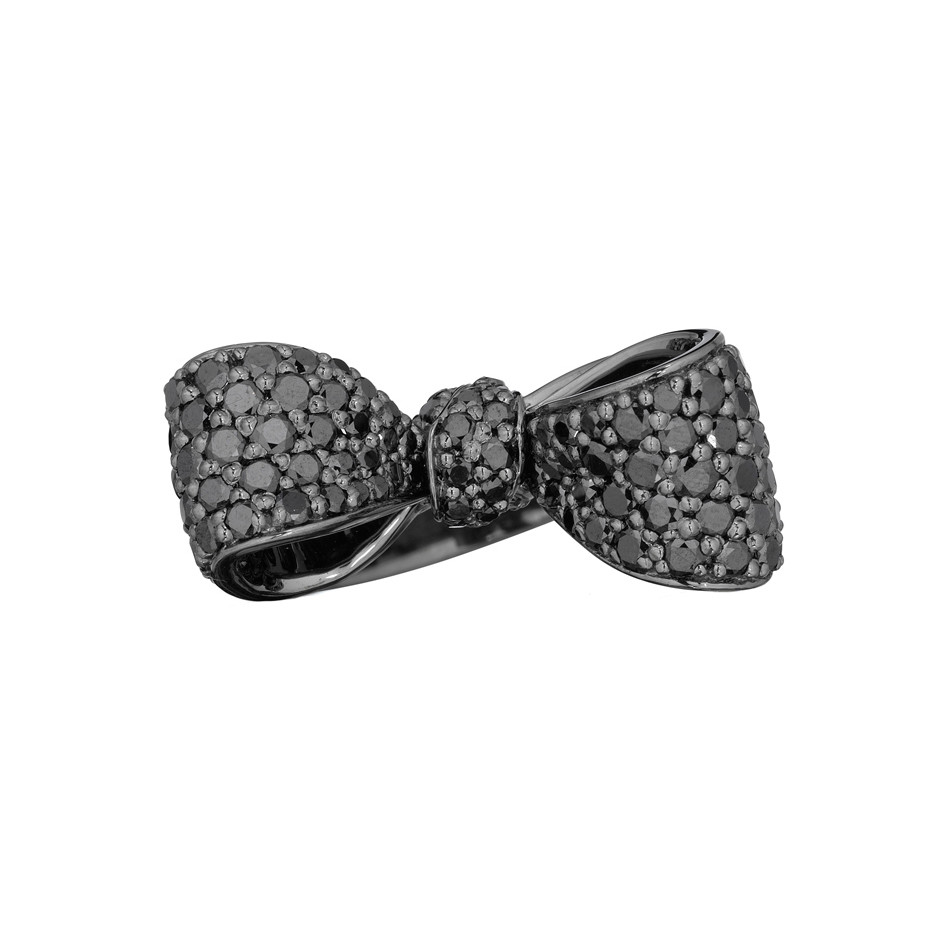 Small Pavé Black Diamond Bow Ring
