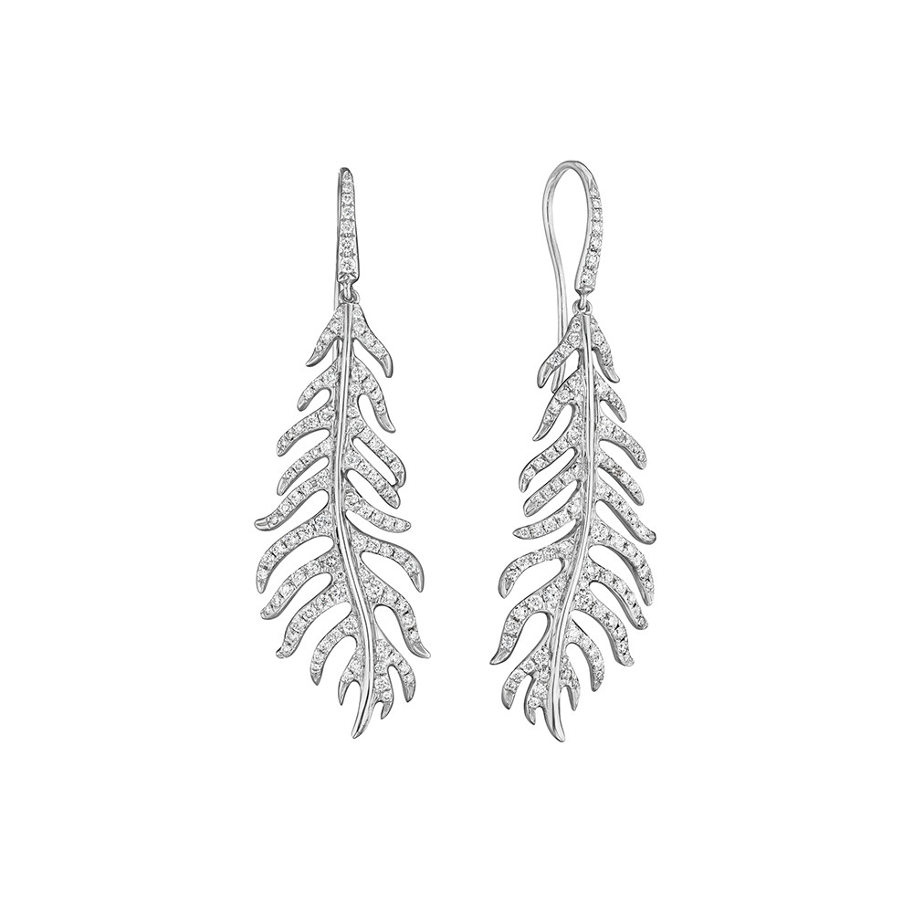 Pavé Diamond Feather Drop Earrings