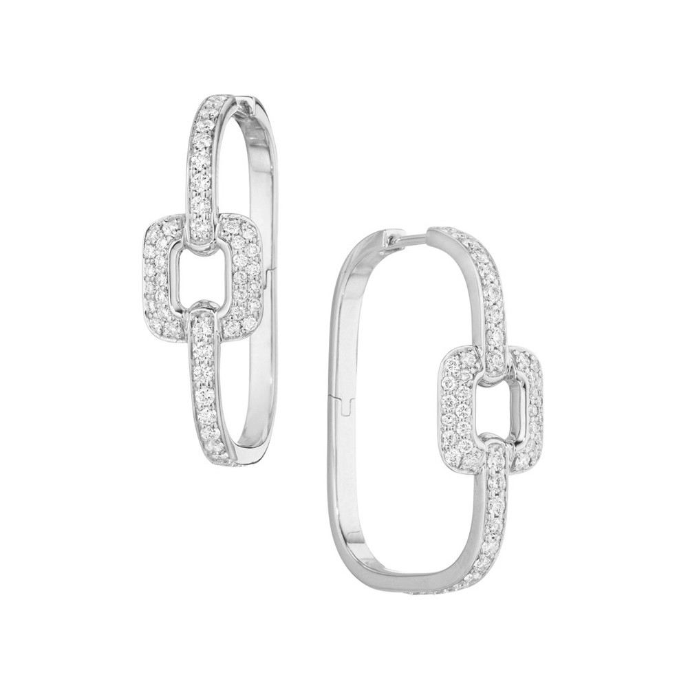 "18k White Gold & Diamond ""Piece"" Hoop Earrings"