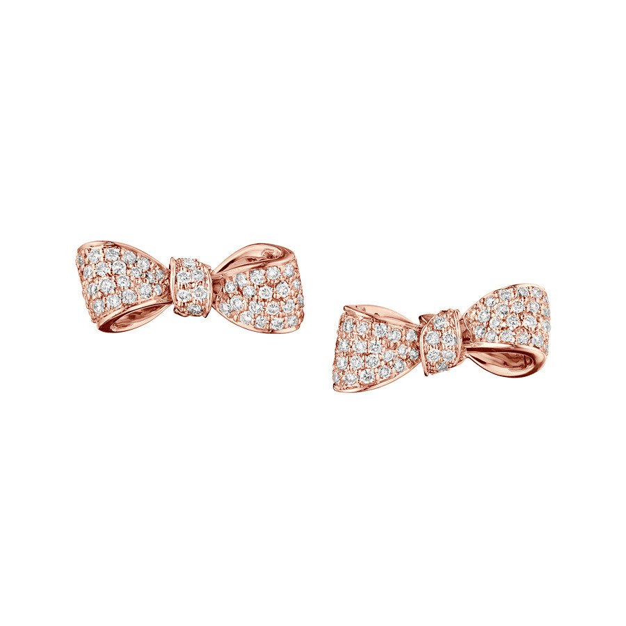 Mini 18k Rose Gold & Diamond Bow Earstuds