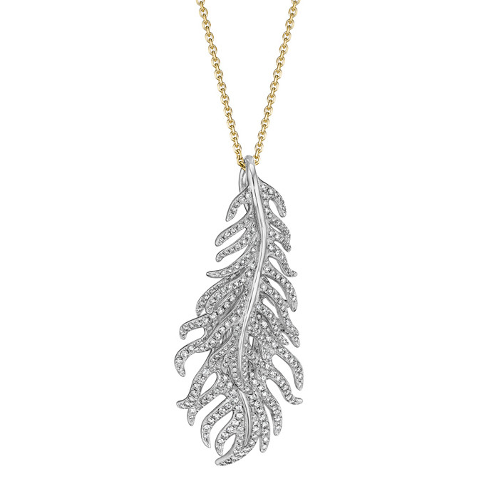 Diamond Double-Feather Pendant Necklace