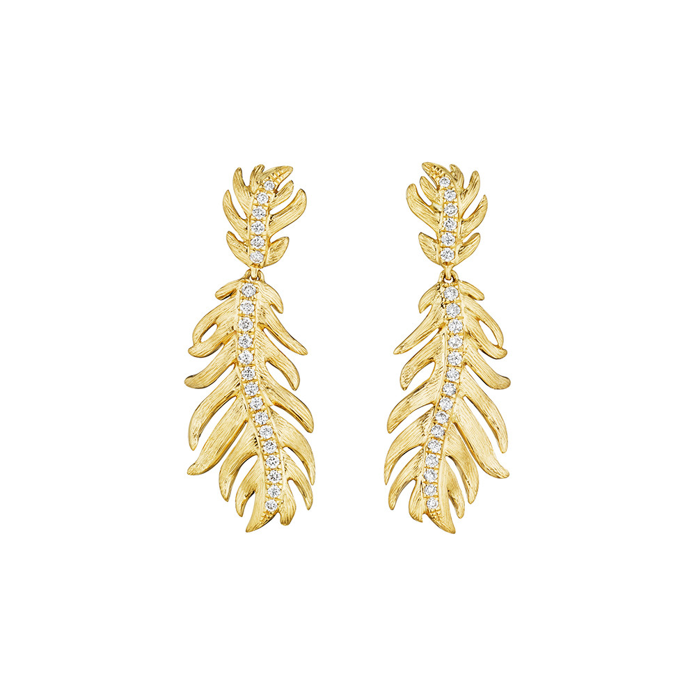 18k Yellow Gold & Diamond Feather Drop Earrings