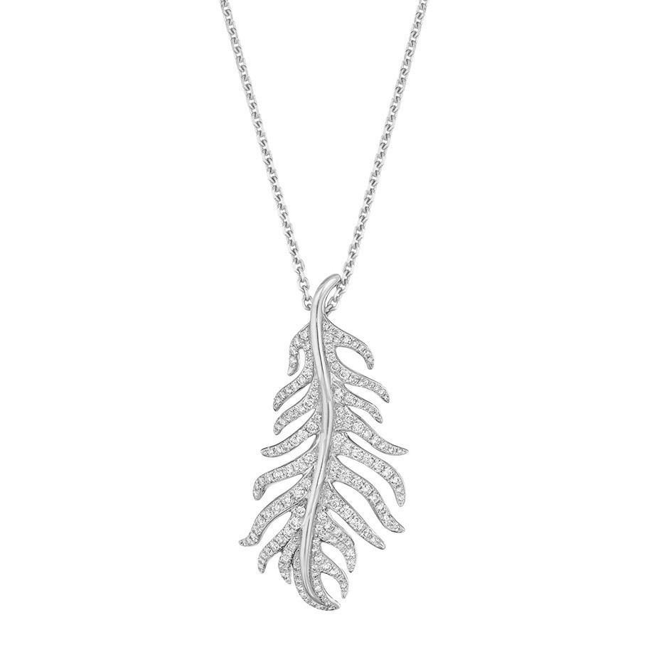 "Large 18k White Gold & Diamond ""Phoenix"" Pendant"