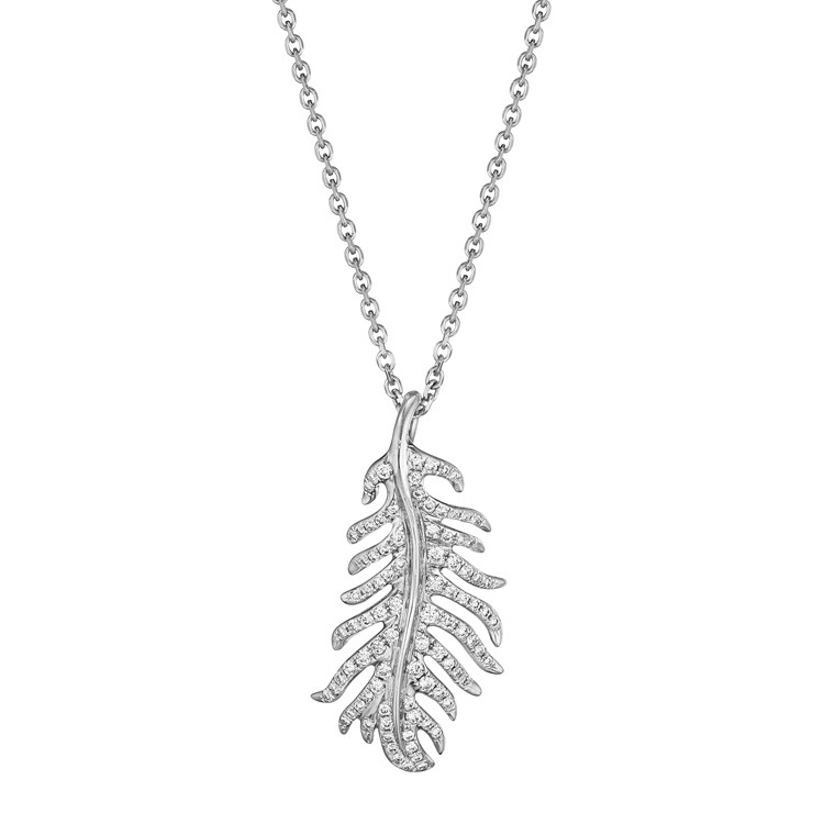 "Small 18k White Gold & Diamond ""Phoenix"" Pendant"