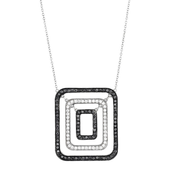 "Small Black & White Diamond ""Piece"" Pendant Necklace"