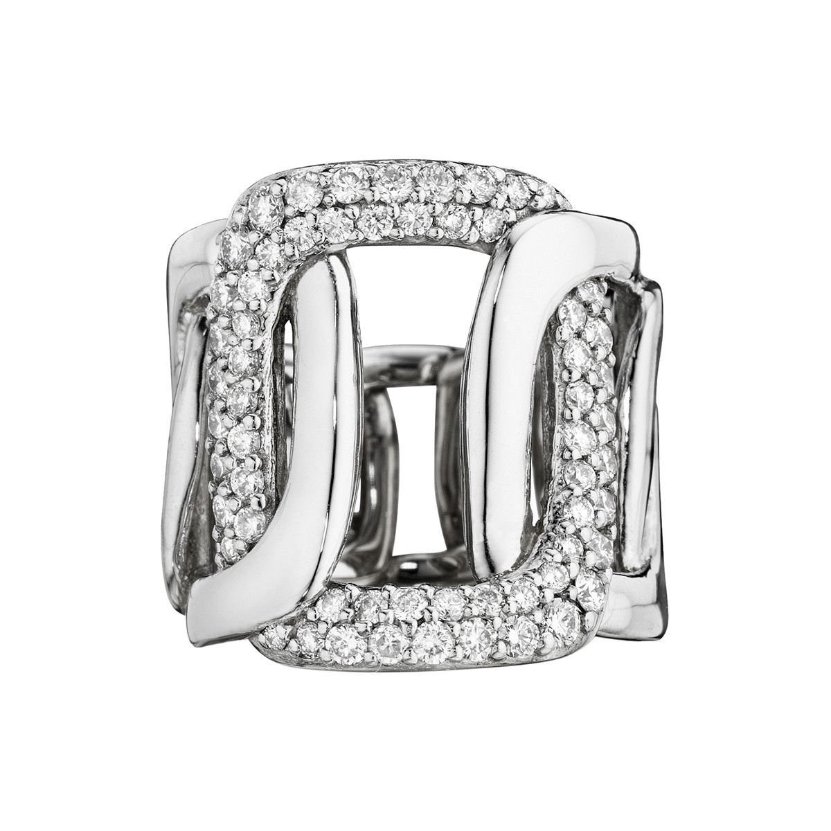 "18k White Gold & Diamond ""Piece"" 5-Link Ring"