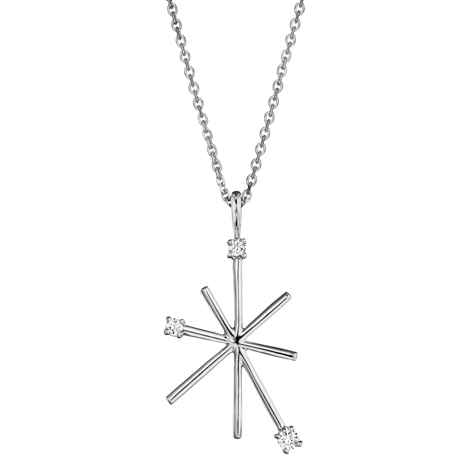 "18k White Gold & Diamond ""Star Stick"" Pendant Necklace"