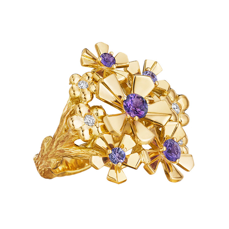 "18k Gold & Gem-Set ""Pow Orchid"" Ring"