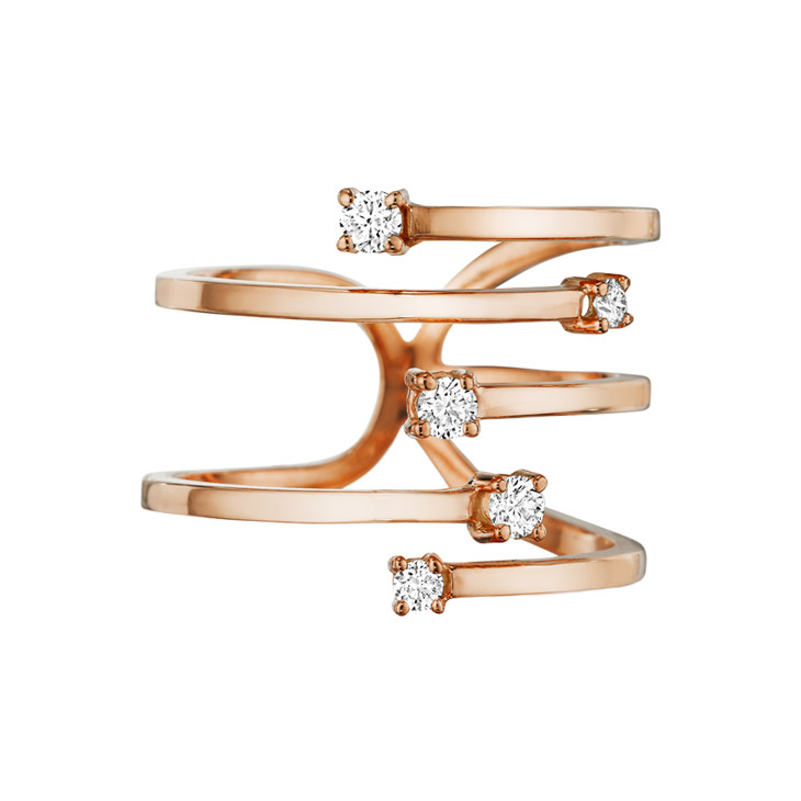 "18k Rose Gold & Diamond ""Piece Stick"" Ring"
