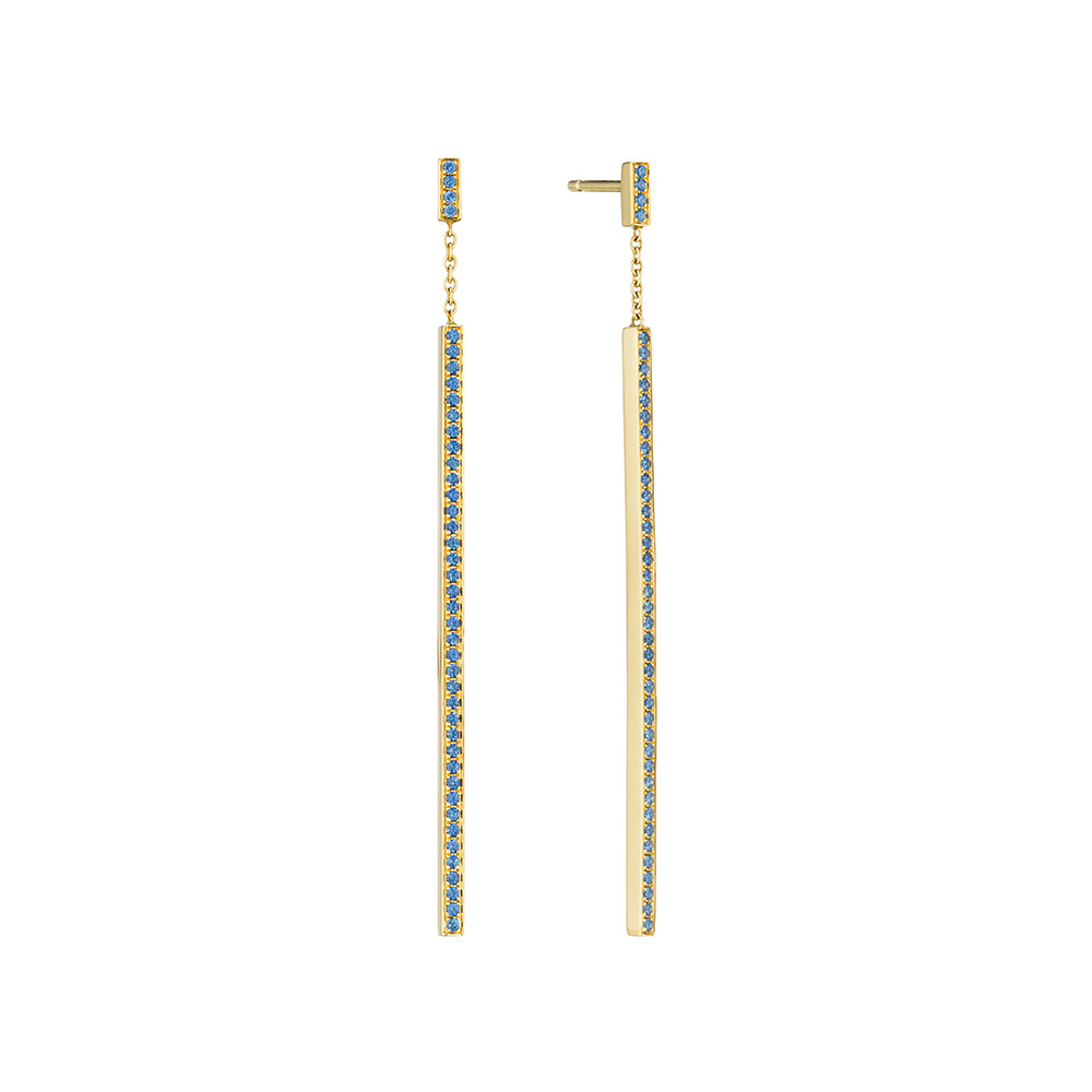 "18k Gold & Sapphire ""Stick"" Earrings"