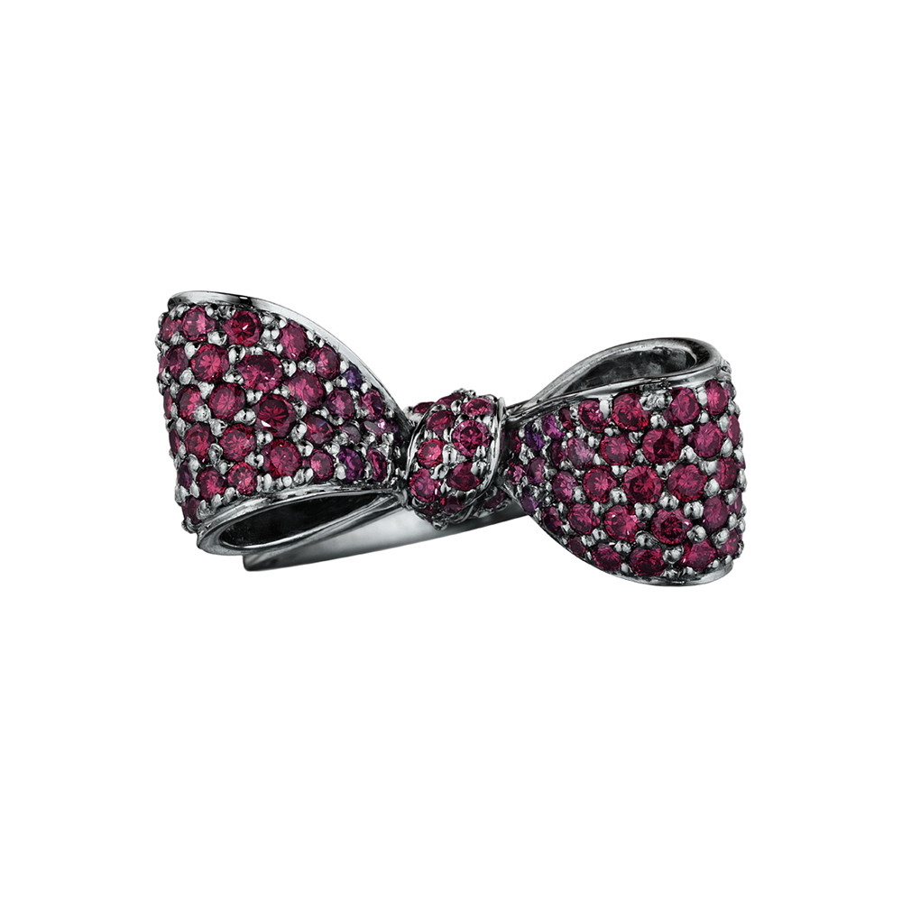 Small Oxidized 18k Gold & Ruby Bow Ring