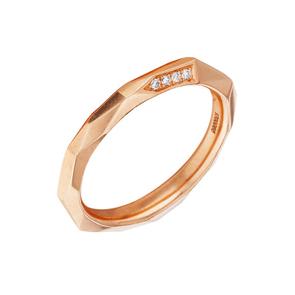 "18k Rose Gold & Diamond ""Switch"" Band Ring"