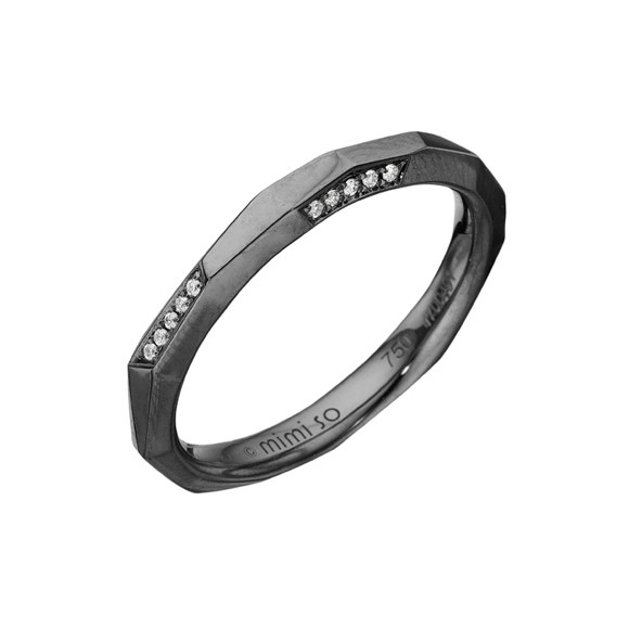 "18k Oxidized White Gold & Diamond ""Switch"" Band Ring"