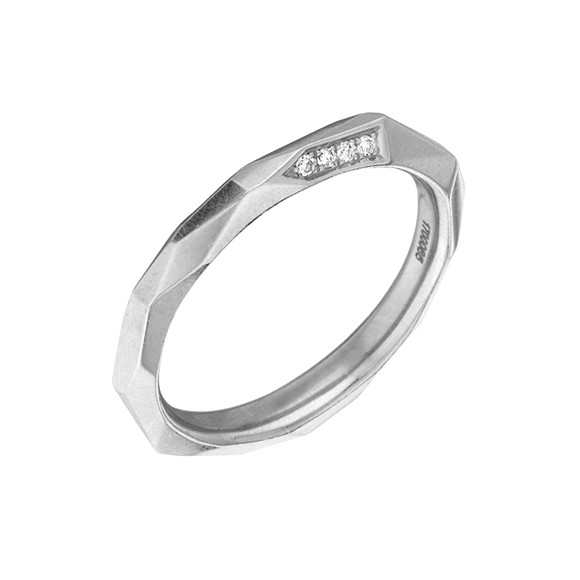 "18k White Gold & Diamond ""Switch"" Band Ring"