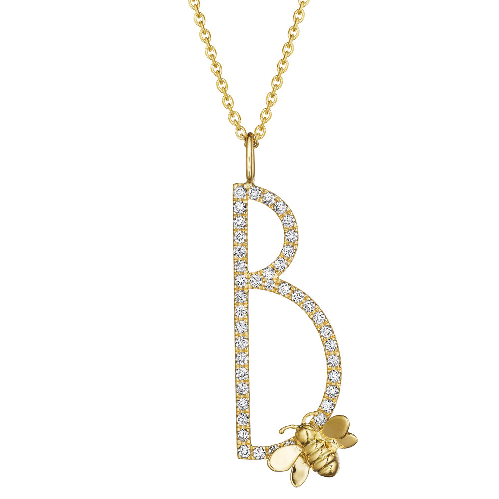 18k Yellow Gold & Diamond Type Letter 'B' Pendant