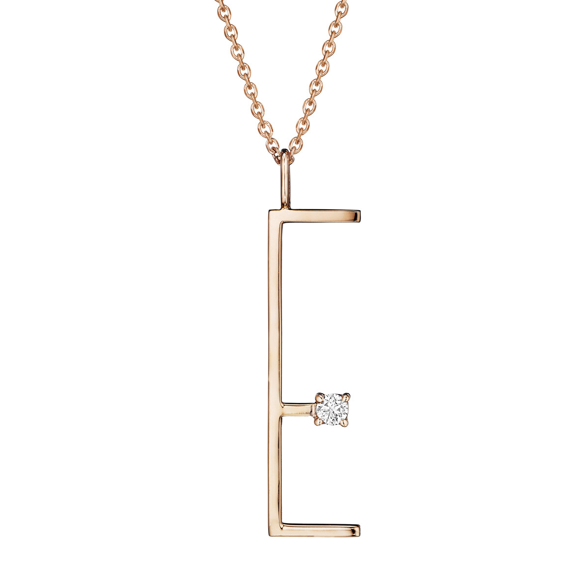 18k Rose Gold & Diamond Type Letter 'E' Pendant