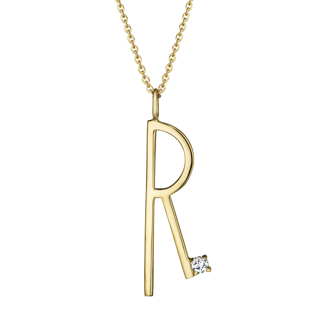 18k Yellow Gold & Diamond Type Letter 'R' Pendant