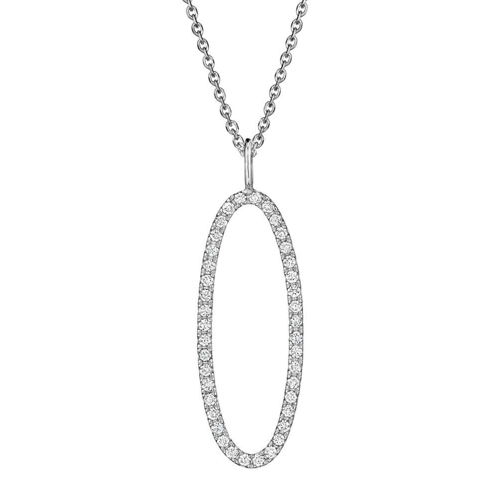 18k White Gold & Diamond Type Letter 'O' Pendant