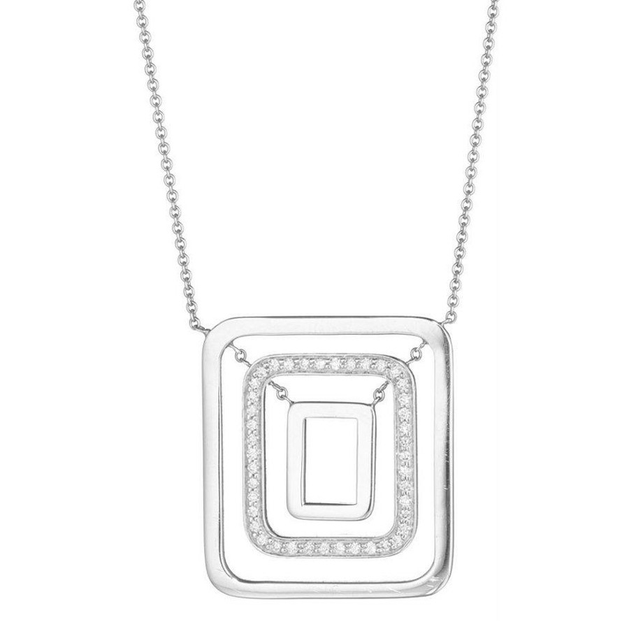 "Medium 18k White Gold & Diamond ""Piece""  Pendant Necklace"