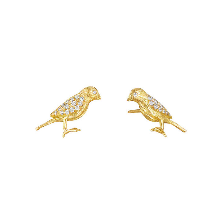 18k Yellow Gold & Diamond Bird Earrings