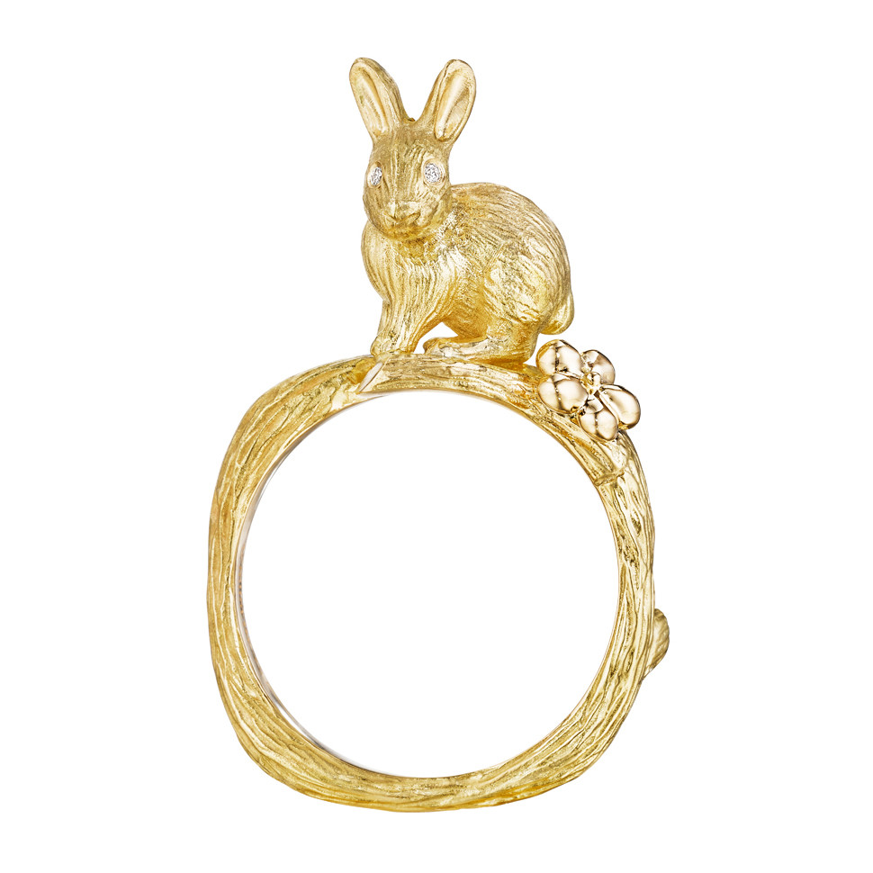 18k Yellow Gold Bunny Band Ring